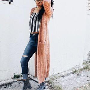 Aeropostale Sweaters - Long Pink Knit Cardigan